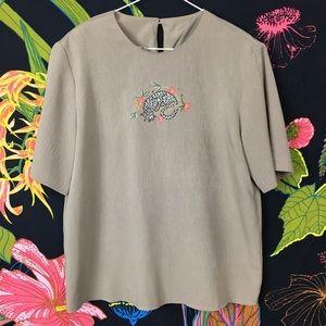 VINTAGE / Oriental Tiger Embroidered Blouse
